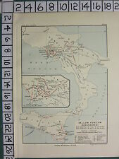 HISTORICAL MAP BATTLE PLAN + TEXT ~ SECOND PUNIC WAR 215 - 211 BCITALY SICILY