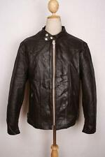 Vtg SCHOTT Brown CAFE RACER Leather Motorcycle Jacket Size Large