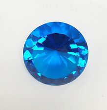 "NEW 5"" GLASS TEAL BLUE DIAMOND SHAPE+STAND CRYSTAL PAPERWEIGHT,DECOR,FIGURINE"