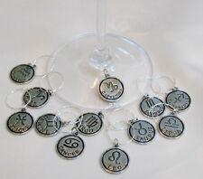 SET OF 12 ASTROLOGICAL SIGNS of the ZODIAC Silver Tone WINE GLASS CHARMS