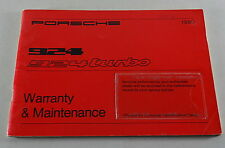 Service Booklet / Warranty & Maintenance Porsche 924 / 924 Turbo Model 1980