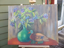 Vintage oil Painting Still Life ANGRY DUCK DECOY OUTSIDER art Weird & Unusual