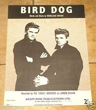 Il Everly Brothers ~ bird dog ~ VINTAGE UK CANZONE SPARTITI MUSICALI SHEET 1958