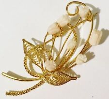 jolie fine bijou vintage broche dorée à l'or fin fleurs corail véritable * 4308