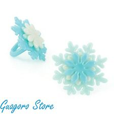 Frozen Snowflake Cupcake 24 Rings Birthday Favors Prizes Bag Filler Party Supply
