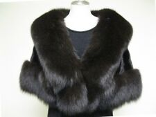 FREE SHIPPING ELEGANT AND SEXY 100% REAL BLACK MINK AND FOX CAPE  FREE SIZE