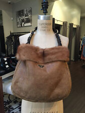 Prada Tan Sheep Skin Mink Crockodile Handle Purse Bag Hobo
