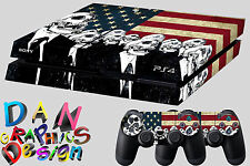skin for ps4 Playstation 4 console usa flag skull sticker dualshock call of duty