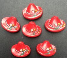 6 Rouge Vif Vintage Tyrolienne Hats avec Cerises Boutons