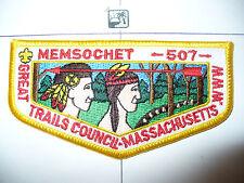OA Memsochet Lodge 507,S-6c,1980s Flap,CD,PB,83,277,556, Great Trails Council,MA