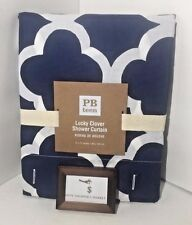 "POTTERY BARN LUCKY CLOVER SHOWER CURTAIN BLUE WHITE 72"" x 72"" NEW NWT"
