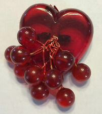 Red Bakelite heart brooch with bakelite cherries