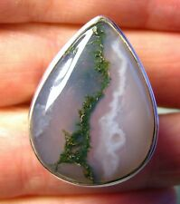 925 silver very large MOSS AGATE oval ring UK Q-Q¼/US 8.25