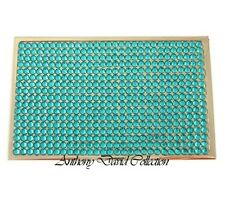 Turquoise Blue Crystal Silver Metal Business Card Case with Swarovski Crystals