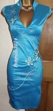 FAB ❤️BNWOT JANE NORMAN  Turquoise Satin Chinese Party Dress Size 10 12