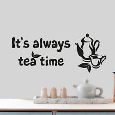 Tea time citation mural tasse decor vinyl autocollant décalque décoration murale art dc