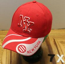 VERY NICE NY NEW YORK HAT RED & SILVER ADJUSTABLE IN VERY GOOD CONDITION