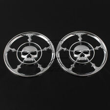 2x Chrome Skull Speaker Trim Grill Cover For Harley Touring Electra Glide 96-13