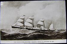 Glass Magic Lantern Slide WHITE STAR STEAM SHIP BALTIC C1910 DRAWING SS