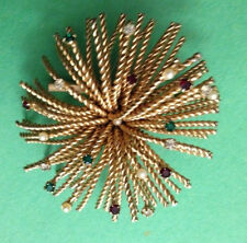 """VINTAGE BROOCH GOLD TONE W SMALL RHINESTONES & PEARLS THROUGH OUT 2"""" ACROSS"""