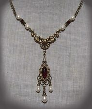 BRASS FILIGREE GLASS GARNET RED PEARL TEAR DROP NECKLACE EDWARDIAN VICTORIAN
