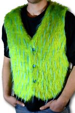 Mens Faux Fur Luxury Vest Green W/ Blue Spike Halloween costume Christmas Gift