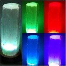 COLOUR CHANGING SELENITE USB LAMP CRYSTAL GEMSTONE SATIN SPA REIKI HEALING