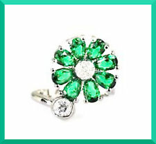 New Green Tourmaline & White CZ 925 Silver Cluster Ring Sz 8 FREE SHIPPING #128