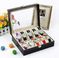 10 Grids Slots Leather Jewelry Watch Display Case Box Storage Holder Organizer