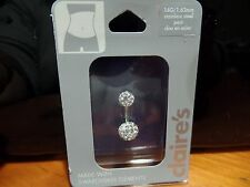 14G Clear Crystal Swarovski Balls Belly Ring New Claire's
