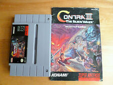 CONTRA 3 SNES USA NTSC CART AND INSTRUCTIONS