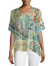 NWT Johnny Was Green Neill 100% washable silk Oversized Tunic Top Sz XL XXL 1X