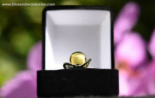 GAR110 - Dominican Amber Green Sphere on 925 Silver Ring