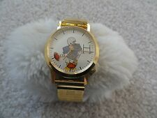 Vintage Wind Up Men's Watch with a Stretch Band Quarterback Throwing a Football