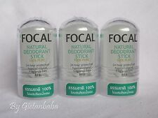 3 x Focal 100% Pure Natural Deodorant Roll On Stick, Alum Deo Crystal Stone 60g