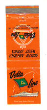 DELTA LINE MISSISSIPI MATCHBOX LABEL ANNI '50 MARINA SOUTH AMERICA WEST AFRICA