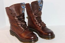 DR MARTENS AIMILIE WOMEN'S LEATHER BOOTS 7 US 5 UK BROWN FOLD DOWN FLORAL EUC
