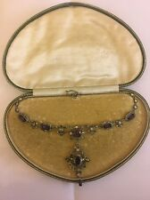 Antique Silver Gem Set Necklace With Pendant Stunning Show Stopper