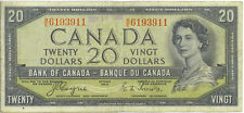 Bank of Canada 1954 $20 Twenty Dollars Devil's Face Portrait B/E Prefix Fine