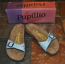 NEW WOMENS PAPILLIO BIRKENSTOCK MADRID FIELD OF FLOWERS BLUE SANDALS Sz 37 6 NIB