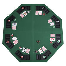 "48"" Green Octagon 8 Player Four Fold Folding Poker Table Top & Carrying Case New"