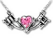 Alchemy Gothic UL17 Painted Lady Pink Crystal Heart Necklace Tattoo ULFP3