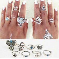 8pcs/pack Vintage Set Anti Silver Rings Turquoise Elephant Snake Heart Bohemian