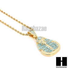 "HIP HOP ICED OUT GOLD PHARAOH KING-TUT PENDANT w/ 24"" ROPE CHAIN NECKLACE KN015"