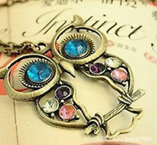 OWL Necklace Rhinestone Vintage Retro Kitsche Pendant Chain Bird Jewellery Gift