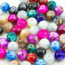 50pcs Wholesale Mix Artistic Marble Design Lampwork Glass Round Beads 8mm
