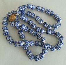 ANTIQUE CHINESE PORCELAIN BEADS NECKLACE.WHITE/BLUE.GILT SILVER FILIGREE CLASP