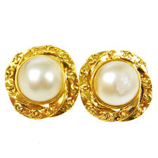 "Authentic CHANEL Vintage CC Logos Imitation Pearl Earrings Clip-On 1.2 "" V13173"
