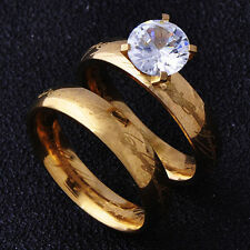 Fashion jewelry Womens Wedding Ring CZ Yellow Gold Filled couple rings Size 8