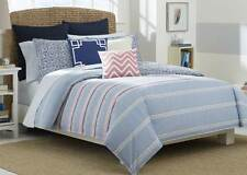 Nautica Destin King 3pc Comforter Set  Stripe Blue Pink White Shams NEW Beach